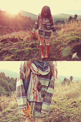 navajo scarf cardigan sweater jacket hippie