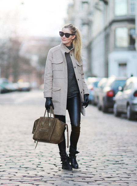 passions for fashion blogger sunglasses leather pants winter coat leather bag celine winter outfits