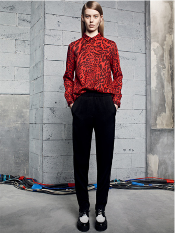 blouse lookbook leopard print sandro pants
