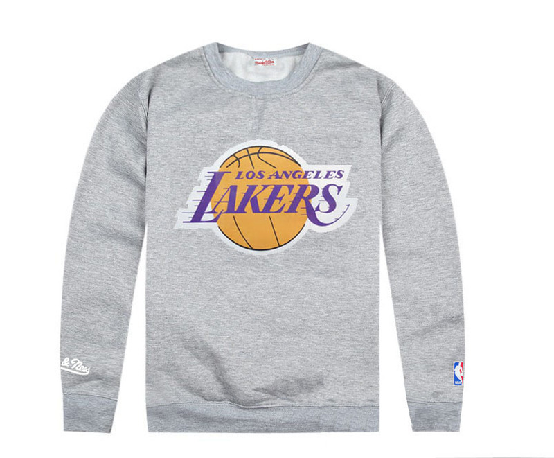 Lakers Sweatshirts Grey Long Sleeve T Shirts / 2013 New Arrivals
