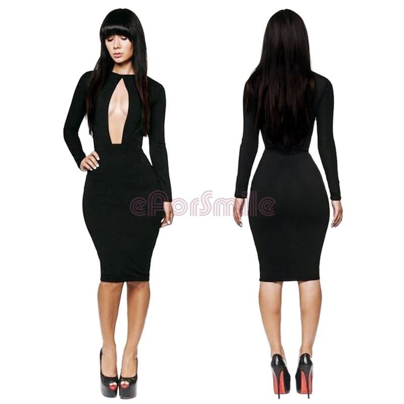 New Sexy Womens Clubwear Cut Out Open Front Bodycon Dress Party Club Cocktail | eBay