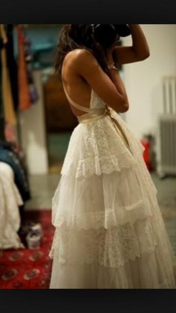 dress wedding dress ruffle lace dress bohemian bridal gown bohemian dress
