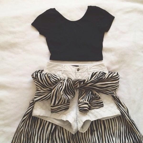 t-shirt shorts blouse skirt