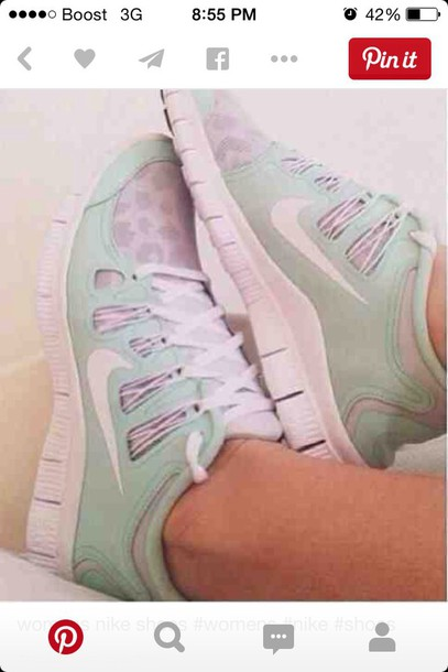 shoes mint green and leopard women nike shoes