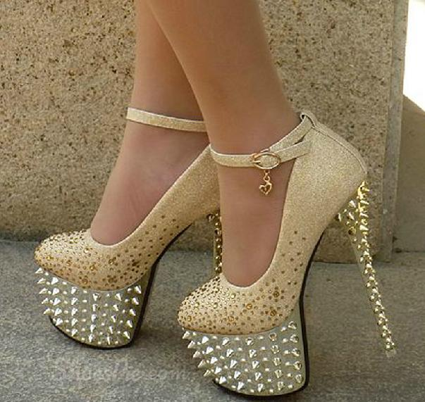 Sparkle Platform Stiletto Heels Bridal Shoes with Shining Spikes
