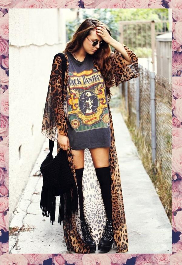 cardigan full length clothes fashion maxi leopard print kimono shoes underwear bag shirt