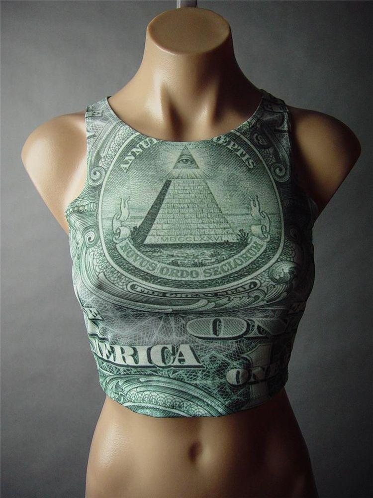 Money Dollar US Bill Novelty Graphic Print Cropped Tank Crop Top 46 AC Shirt L   eBay