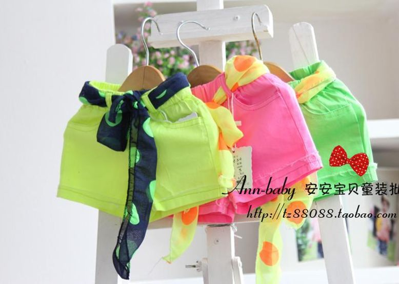 summer baby girl's bright color shorts kid 's green pink yellow candy color elastic waist short pants free shipping-in Shorts from Apparel & Accessories on Aliexpress.com