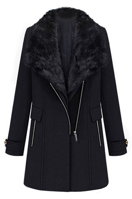 ROMWE | Two-piece Fake Fur Collar Black Woolen Coat, The Latest Street Fashion