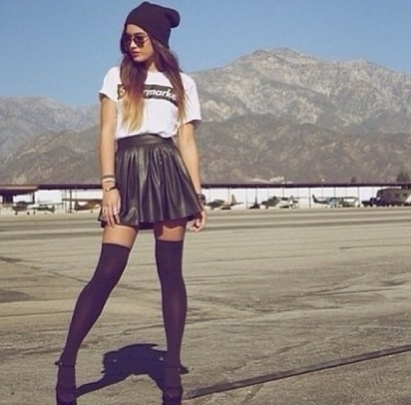 skirt bag socks sunglasses supermarket