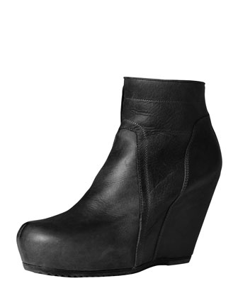 Rick Owens Leather Wedge Ankle Boot, Black - Bergdorf Goodman