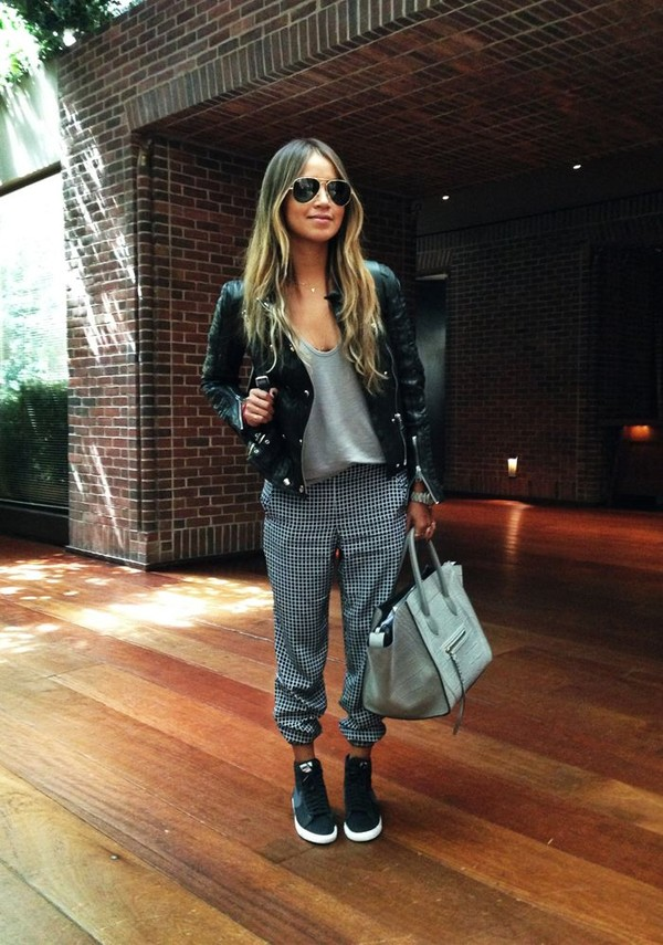 pants black and white checkered baggy pants sincerely jules zara streetstyle blogger