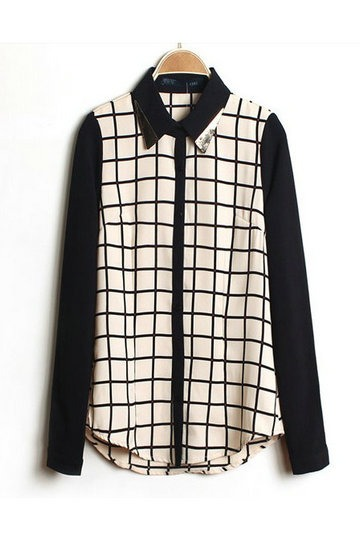 Retro Style Color Block Checked Shirt - Shirts / Blouses- US$ 47.99 - PERSUNMALL
