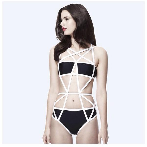 swimwear black and white onepiece/swimwear