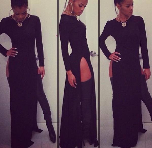 dress slit dress black