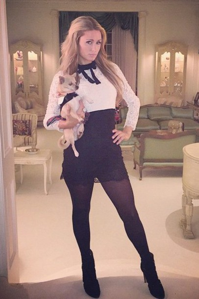 lace dress black and white paris hilton dress tights