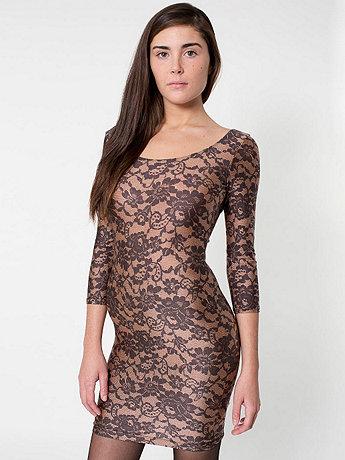 Lace Print Nylon Tricot 3/4 Sleeve Dress | American Apparel