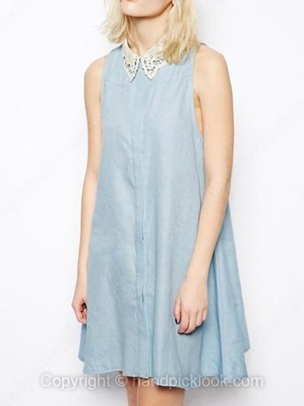 sleeveless dress lapel dress summer dress blue dress summer outfits denim dress