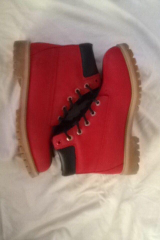 Ruby Red Timberlands   eBay