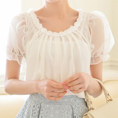 littledaisy | Bowknot Short Sleeve Sheer White Embellished Blouse Top  | Online Store Powered by Storenvy