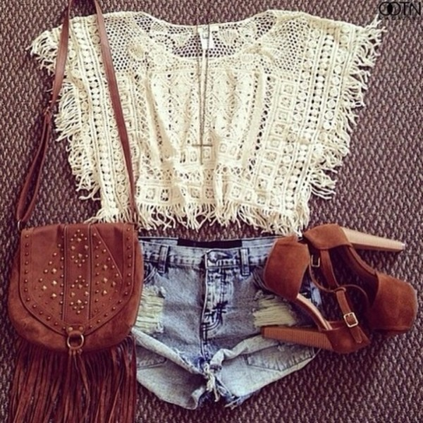 shirt crop tops boho summer outfits booties shorts hipster bag purse shoes tank top t-shirt blouse lace white and shorts? jeffrey campbell holes indie hipster country heels high brown heels brown pumps denim shorts country western top