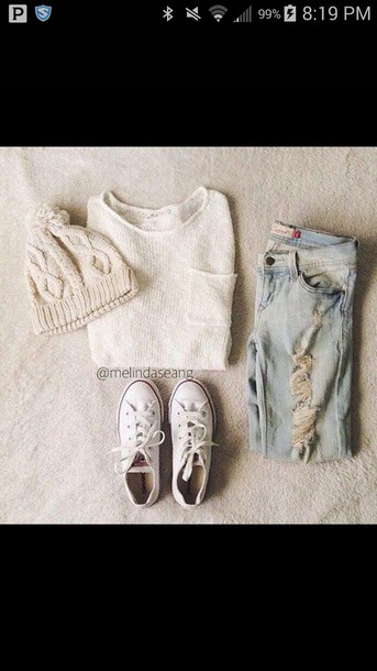 jeans hat sweater shoes