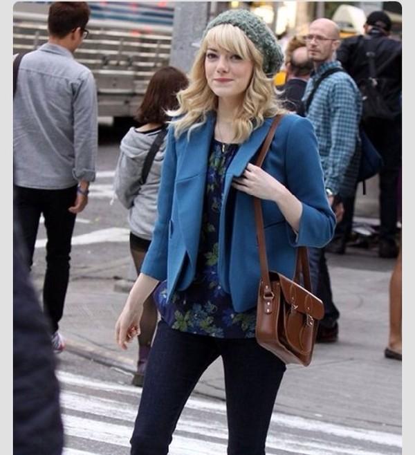 blouse blue floral gwen stacy emma stone jacket bag