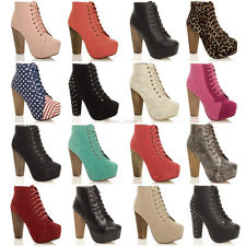 WOMENS LADIES LACE UP PLATFORM WOODEN BLOCK HIGH HEEL BOOTIES ANKLE BOOTS SIZE   eBay