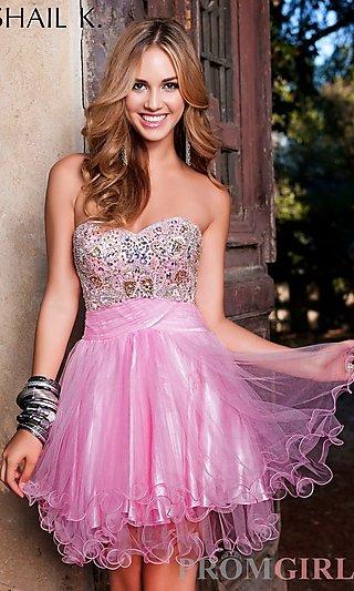 Short Strapless Beaded Dress, Shail K Short Prom Dress- PromGirl
