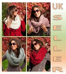 Super Chunky Knit Circle Loop Cowl Infinity Scarf Snood Grey, Red, White, pink | eBay