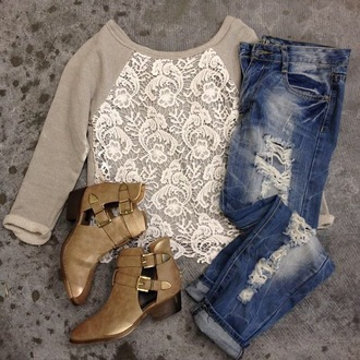top beige top shoes low heels ripped jeans