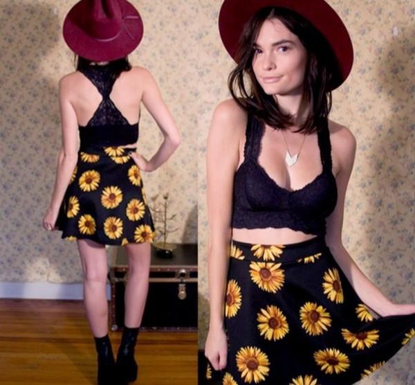 skirt sunflower print on black sunflower print fringe crop tank top sunflower skirt top shoes