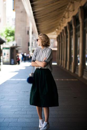 zanita blogger bag sunglasses blouse elegant shirt skirt shoes