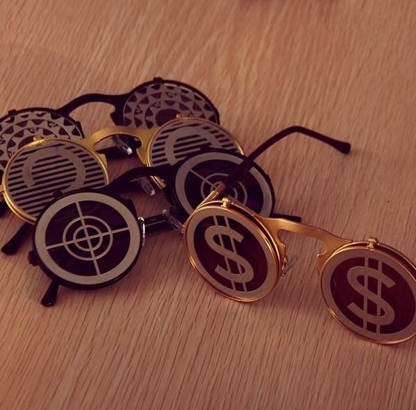sunglasses romwe dollarsign glasses circular