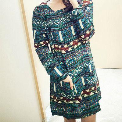Sweet Folk Style Geometric Figure Print Dress from joyprettye por Joypretty.storenvy.com - Shopcliq