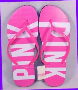 Amazon.com: Victoria's Secret Pink Flip Flop Pink White Large (9-10) US: Sports & Outdoors