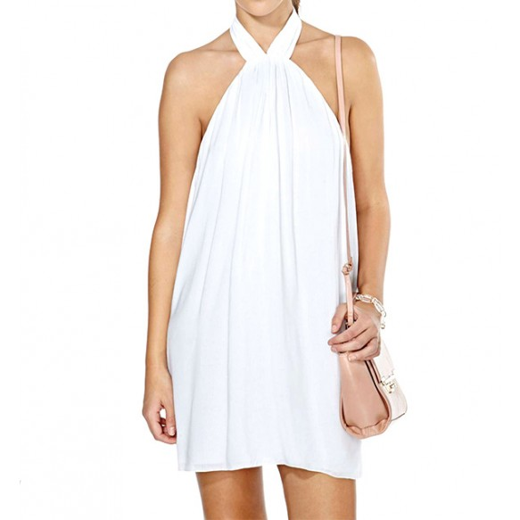Halter Neck Swing Dress With Low Back at Style Moi