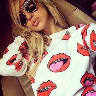 lips swester t-shirt red white teeth nice lovely funny 4 20 cool sweater dope urban lip print