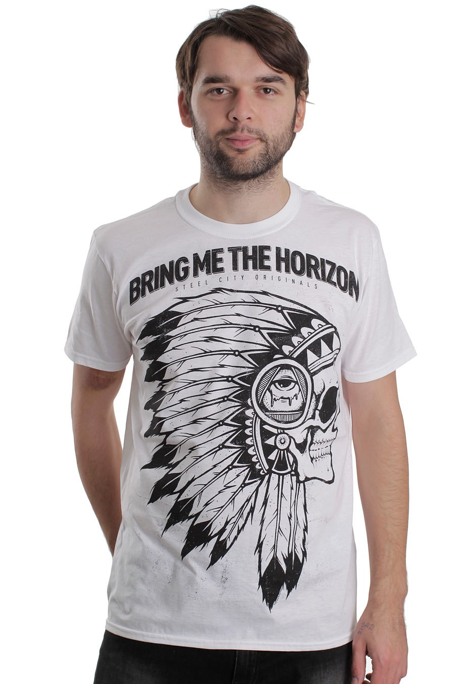 Bring Me The Horizon - Indian Skull White - T-Shirt - Official Merch Store - Impericon.com UK