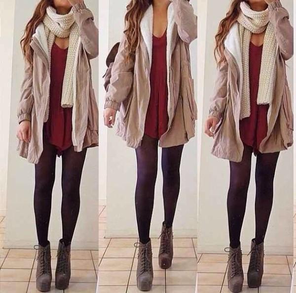 shoes heels coat scarf shirt dress jacket