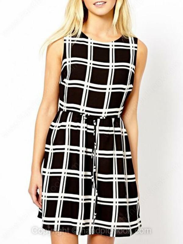 dress plaid dress black and white summer dress plaid skirt monochrome sleeveless dress