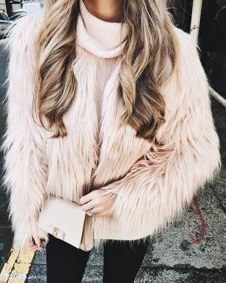 jacket tumblr fur jacket pink jacket sweater pink sweater turtleneck turtleneck sweater bag nude bag ombre hair long hair
