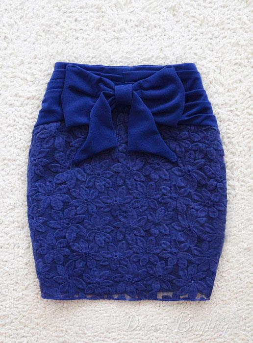 Sweet Lace Flower Embroidery Slim Bows Skirt 10600145 - Dressbuying.com