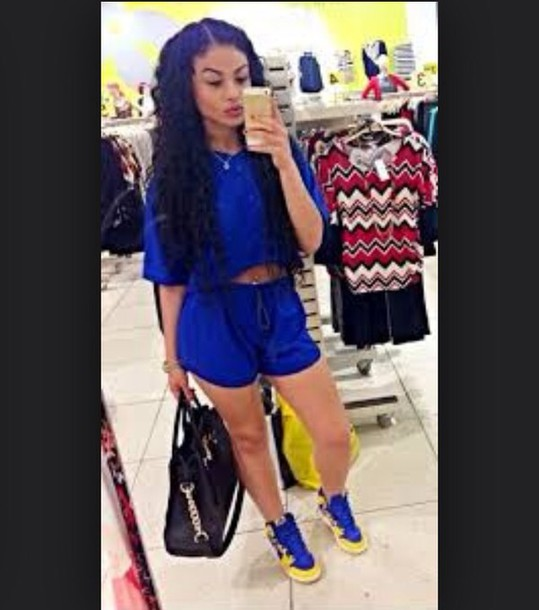 shorts blue shirt blue shorts blouse outfit royal blue two-piece two-piece top shoes
