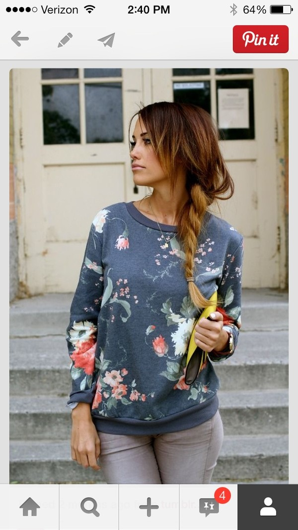 sweater tumblr hipster floral navy sweatshirt