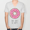 Donut worry be happy v-neck t-shirt by sara eshak | society6