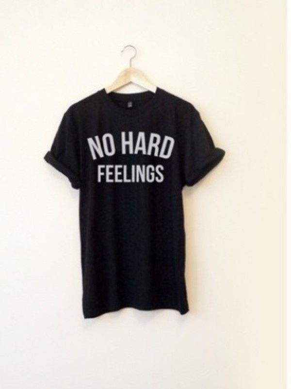 t-shirt no hard feelings black top shirt t-shirt