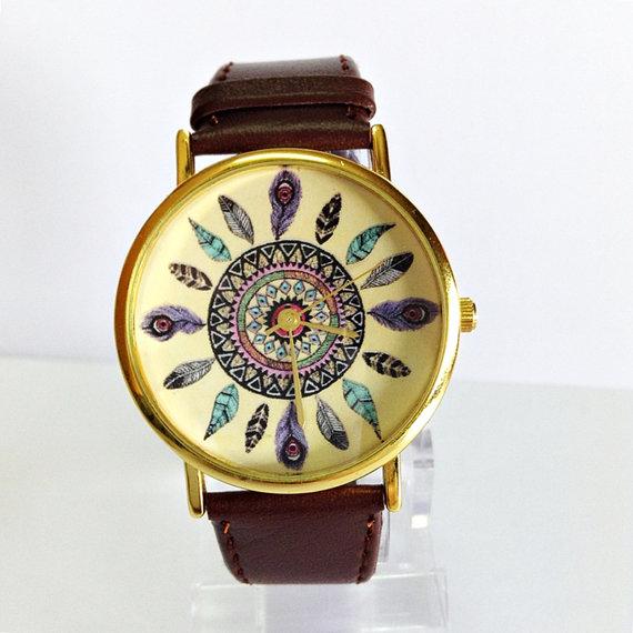 Dream Catcher Watch Vintage Style Leather Watch Women by FreeForme