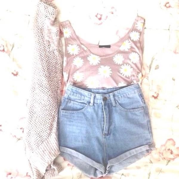 tank top blouse shorts
