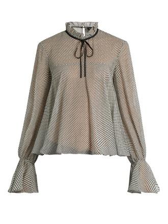 blouse fashion clothes saloni polka dots silk-georgette
